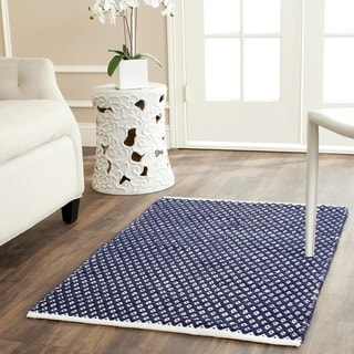 Hand-loomed Moroccan Navy Cotton Rug (2'6 x 4')