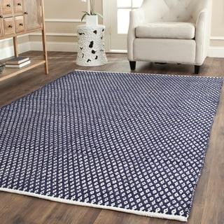 Hand-loomed Moroccan Navy Cotton Rug (8' x 10')