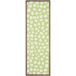 Handmade Children's Safari Green/ Ivory Wool Rug (2'3 x 8')