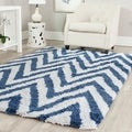 Hand-made Chevron Ivory/ Blue Shag Rug (6' x 9')