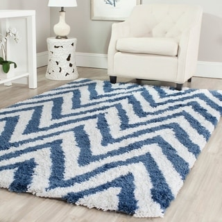 Safavieh Hand-made Chevron Ivory/ Blue Shag Rug (8' x 10')