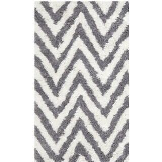Safavieh Hand-made Chevron Ivory/ Grey Shag Rug (3' x 5')