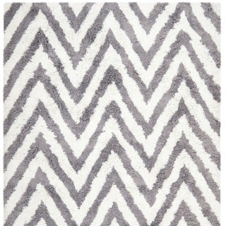 Safavieh Ivory/ Grey Chevron Shag Rug (5' Square)