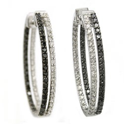 Beverly Hills Charm 14k Gold 2ct TDW Black and White Diamond Hoop Earrings