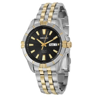 Seiko Men's SNE176 Stainless Steel Two Tone Solar Watch