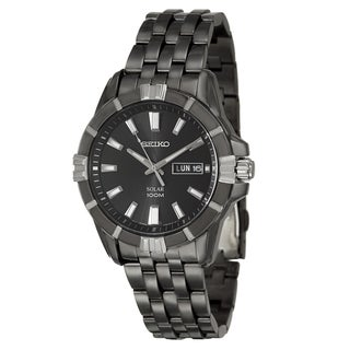 Seiko Men's 'Solar' Black Stainless Steel Solar-powered Watch