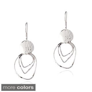 Mondevio Sterling Silver Swirl Twist Dangle Earrings