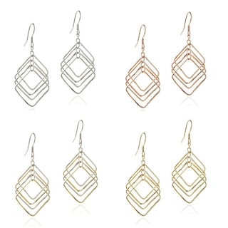 Mondevio Sterling Silver Diamond-shaped Link Dangle Earrings