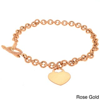 Beverly Hills Charm 14k Gold Heart Charm 7.5-inch Bracelet
