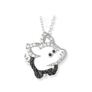 Icz Stonez Sterling Silver Black and White Cubic Zirconia Pig Necklace
