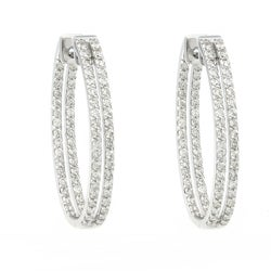 Beverly Hills Charm 14k White Gold 2ct TDW Diamond Inside-out Oval Hoop Earrings