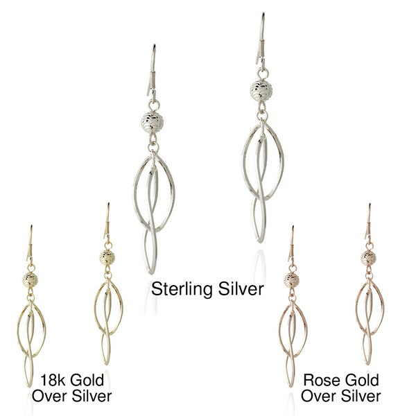 Mondevio Sterling Silver Bead Twist Dangle Earrings