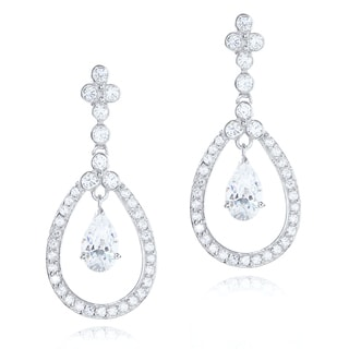 Blue Box Jewels Rhodiumplated Silver Cubic Zirconia Teardrop Chandelier Earrings