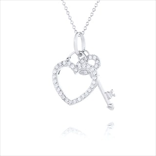 Blue Box Jewels Rhoidumplated Silver CZ Heart and Key Necklace
