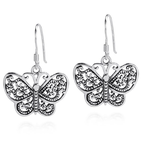 Handmade Cute Swirl Detail Butterfly Dangle Sterling Silver Earrings (Thailand) 10570890