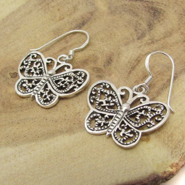 Handmade Silver Cute Swirl Detail Butterfly Dangle Earrings (Thailand) 10570890