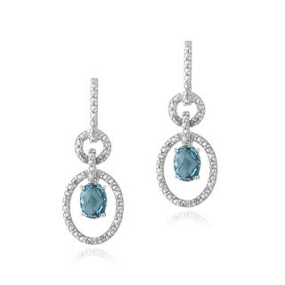 Glitzy Rocks Silver London Blue Topaz and Diamond Accent Oval Earrings