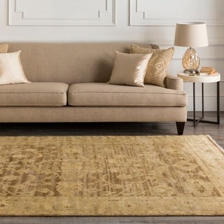 Hand-knotted Tinmouth Brown Wool Rug (5'6 x 8'6)