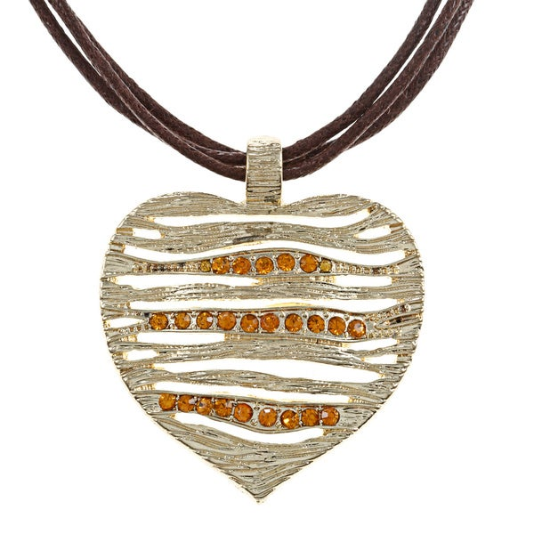 Alexa Starr Rhinestone Heart 3-strand Cord Necklace