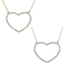 Alexa Starr Goldtone Rhinestone Pave Open Heart Necklace