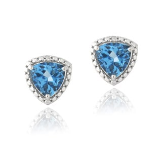 Glitzy Rocks Silver Trillion London Blue Topaz and Diamond Earrings
