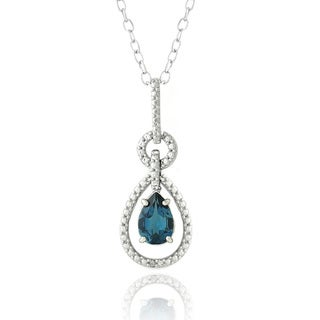 Glitzy Rocks Silver London Blue Topaz and Diamond Accent Pear Necklace