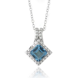 Glitzy Rocks Silver London Blue Topaz and Diamond Square Necklace