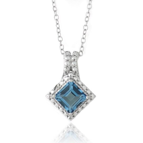 Glitzy Rocks Silver London Blue Topaz and Diamond Square Necklace