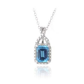 Glitzy Rocks Silver London Blue Topaz and Diamond Accent Necklace