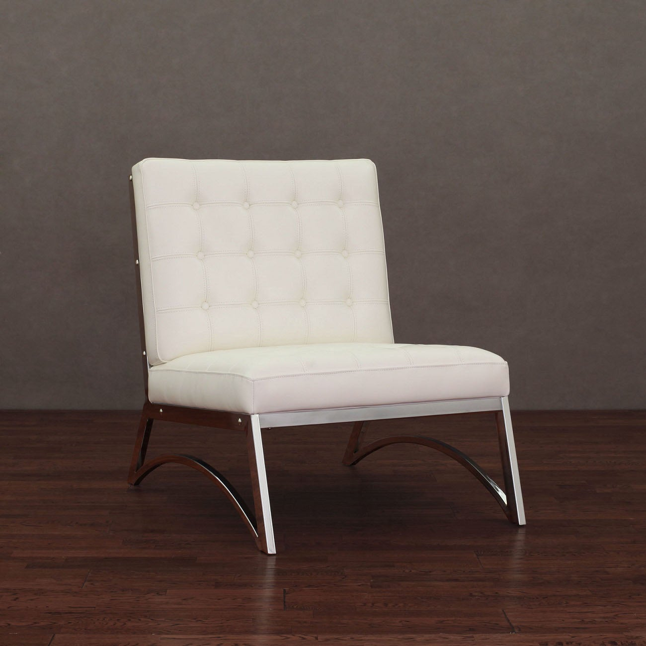 Overstock.com Madrid Modern White Leather Chair at Sears.com