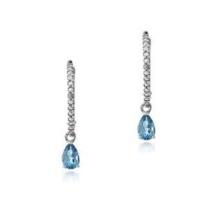 Glitzy Rocks Silver London Blue Topaz and Diamond Leverback Earrings