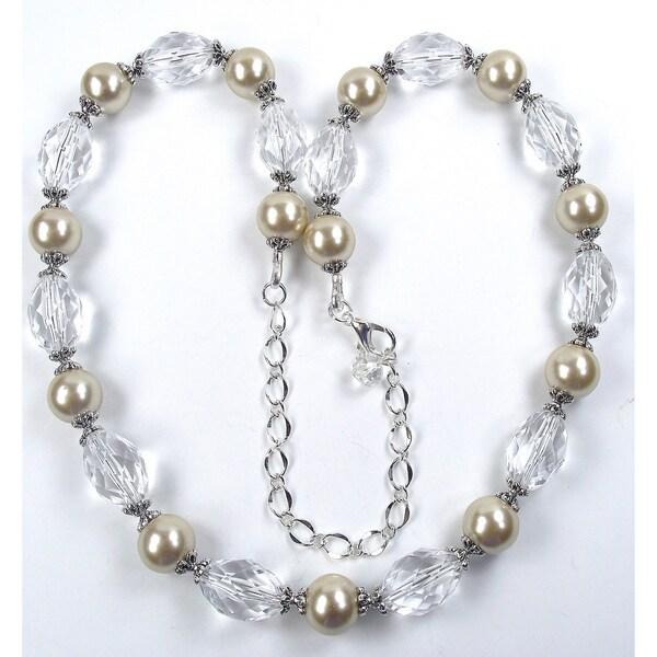 Silverplated Champagne Glass Pearl Wedding Jewelry Set