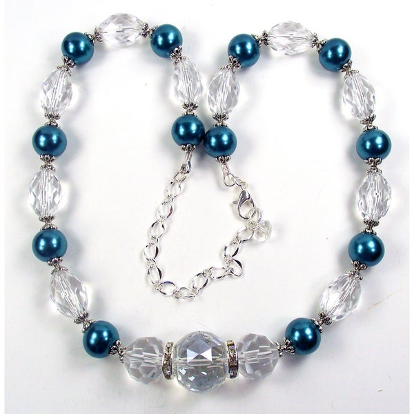 Silverplated Montana Blue Glass Pearls and Clear Crystal Jewelry Set
