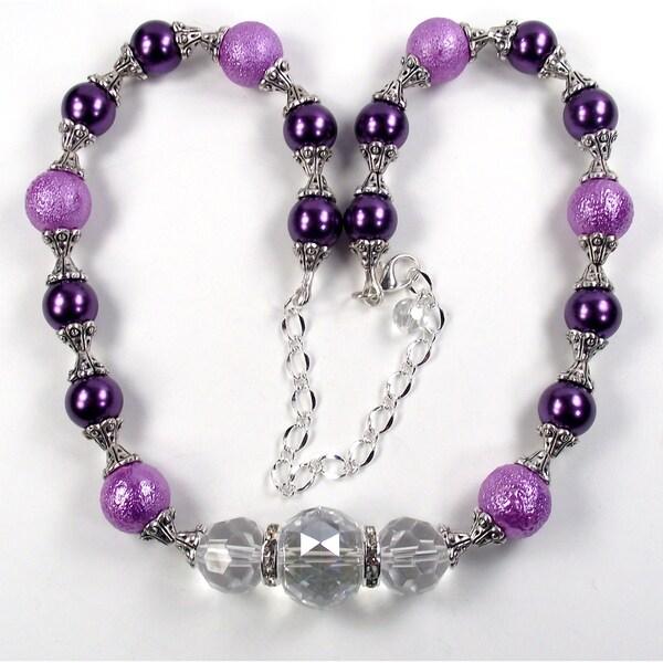 Silverplated Lilac Bumpy Glass Pearl Wedding Jewelry Set