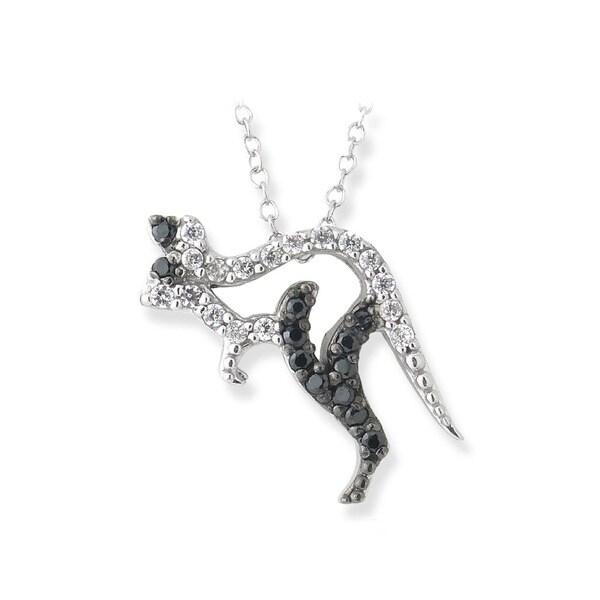 Icz Stonez Silver Black and White Cubic Zirconia Kangaroo Necklace