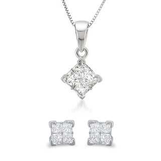 14k White Gold 1/2ct TDW Princess Diamond Jewelry Set (G-H, I1-I2)