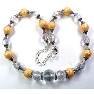 Silverplated Gold Bumpy Glass Pearls Wedding Jewelry Set