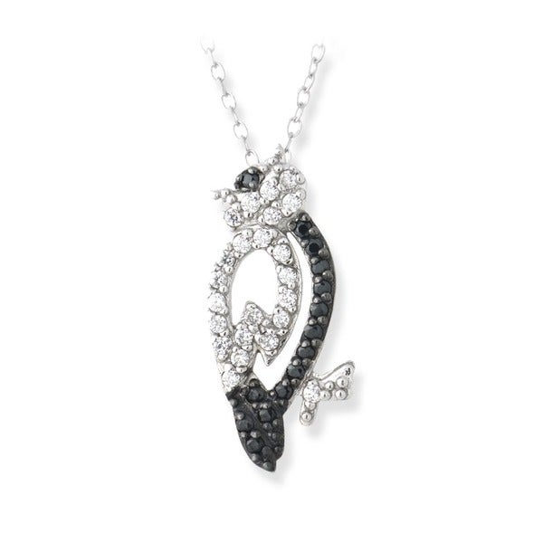 Icz Stonez Sterling Silver Black and White Cubic Zirconia Owl Necklace