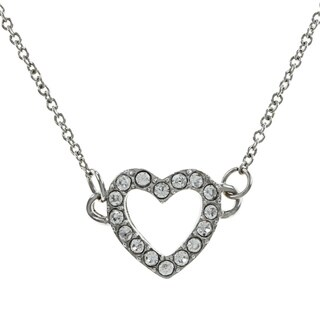 Alexa Starr Silver Rhinestone Heart Charm Necklace