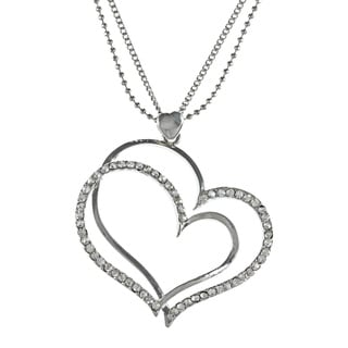 Alexa Starr Silvertone Rhinestone Double Heart Necklace
