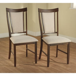 Calista Espresso/ Beige Dining Chairs (Set of 2)