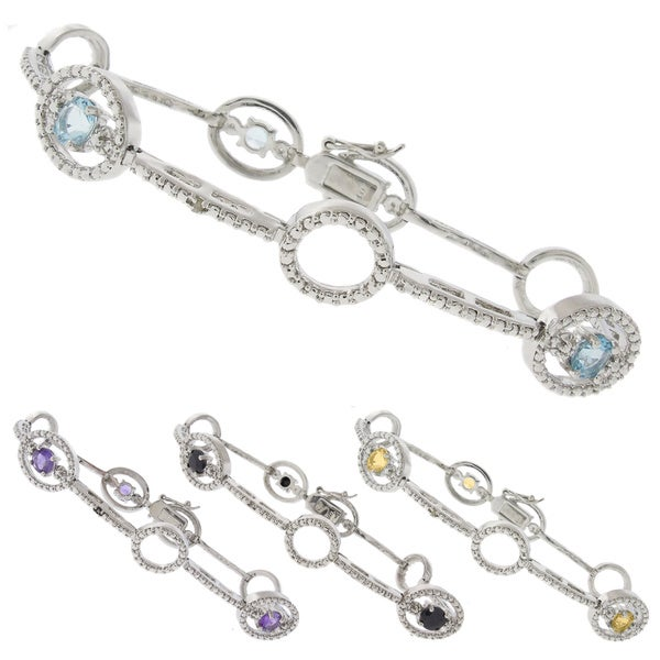 Dolce Giavonna Silver Overlay Gemstone and Diamond Accent Circle Link Bracelet