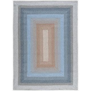 Hand-woven Craftworks Braided Blue Multicolor Rug (5' x 7')