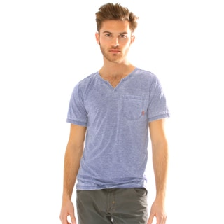 191 Unlimited Men's Slim Fit Burnout Moroccan Neck Tee