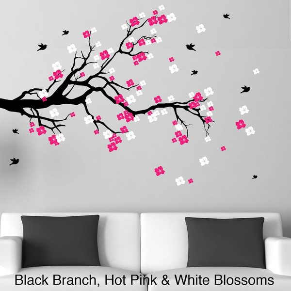 Wall Art Decals Cherry Blossom : Cherry blossom wall art with