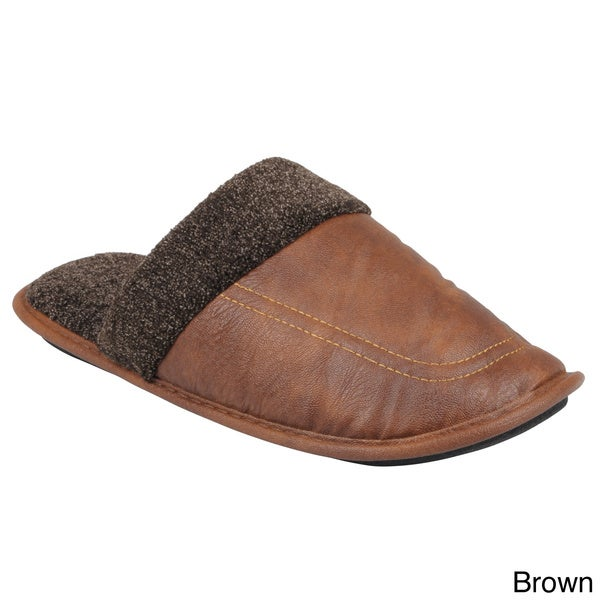 Boston Traveler Men's Faux Leather Scuff Slippers