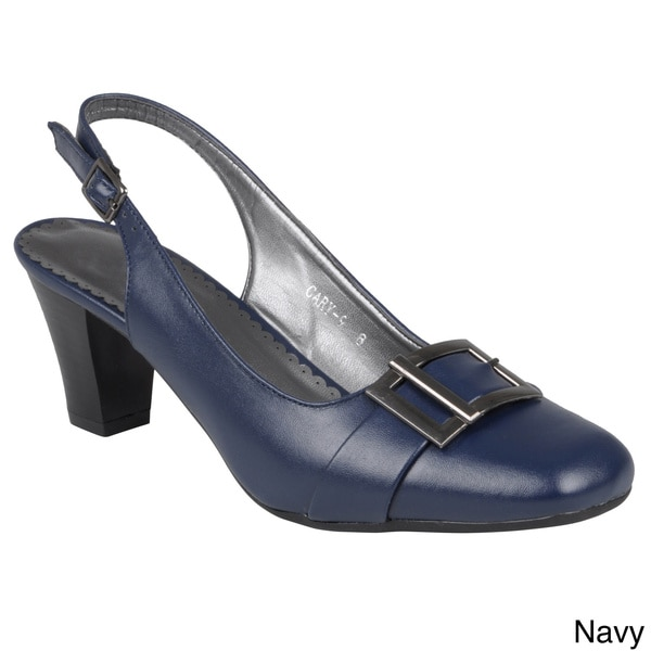 Journee Collection Women's 'Cary-9' Buckle Detail Square Toe Pump