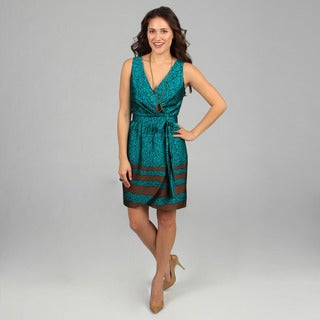 CeCe's New York Women's Brown and Turquoise Printed Dress