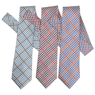 Boston Traveler Men's Patterned Microfiber Tie and Hanky Set