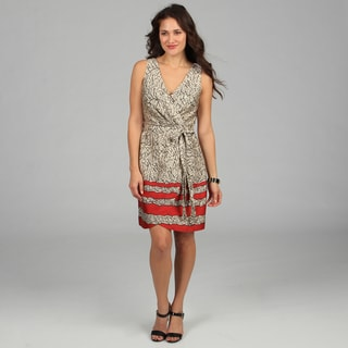 CeCe's New York Women's Sleeveless Printed Tie-front Dress
